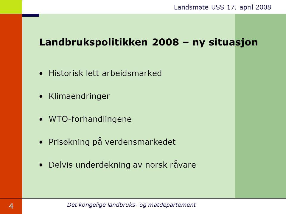 Landbrukspolitikken 2008 – ny situasjon