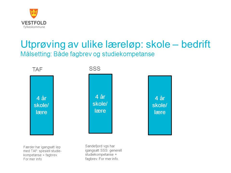 Utprøving av ulike læreløp: skole – bedrift Målsetting: Både fagbrev og studiekompetanse