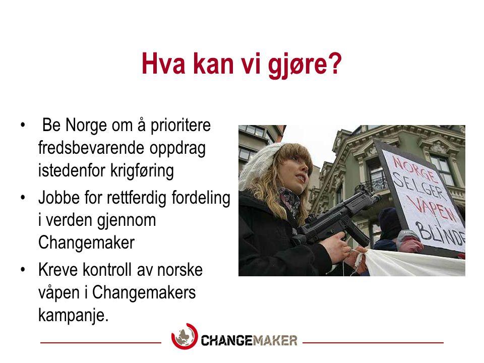 Hva kan vi gjøre Be Norge om å prioritere fredsbevarende oppdrag istedenfor krigføring. Jobbe for rettferdig fordeling i verden gjennom Changemaker.