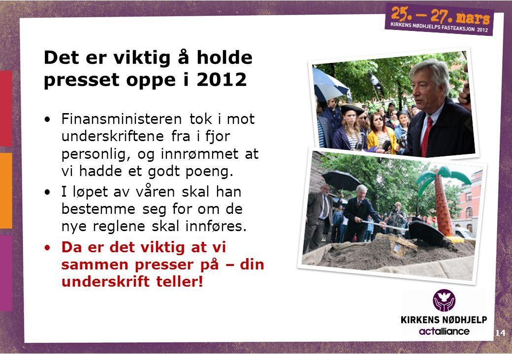 Det er viktig å holde presset oppe i 2012