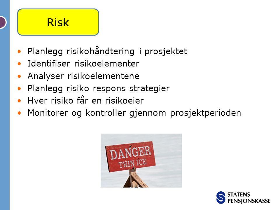 Risk Planlegg risikohåndtering i prosjektet