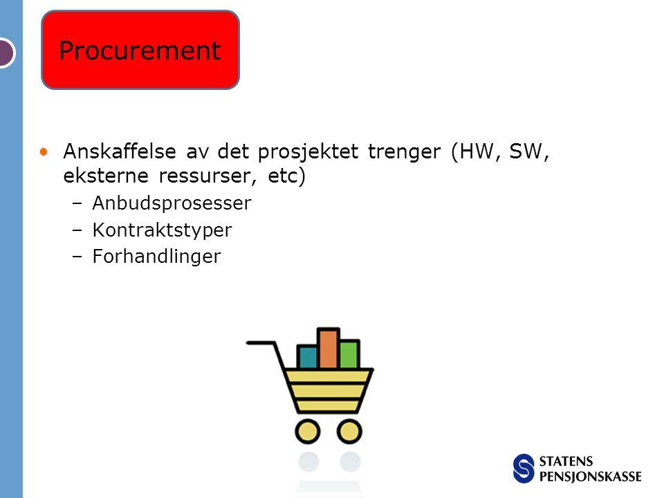 Procurement Anskaffelse av det prosjektet trenger (HW, SW, eksterne ressurser, etc) Anbudsprosesser.