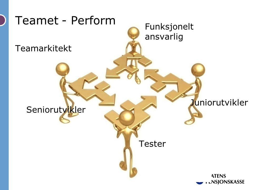 Teamet - Perform Funksjonelt ansvarlig Teamarkitekt Juniorutvikler