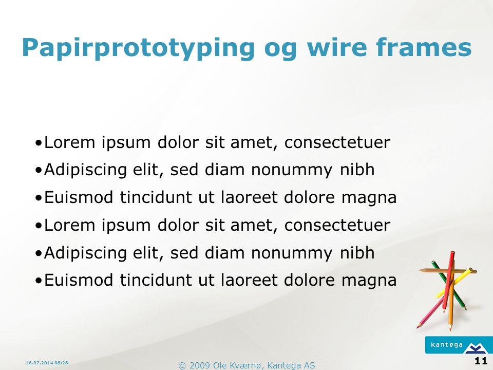 Papirprototyping og wire frames