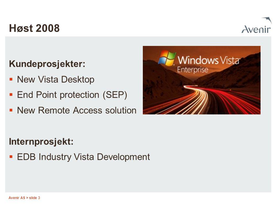 Høst 2008 Kundeprosjekter: New Vista Desktop