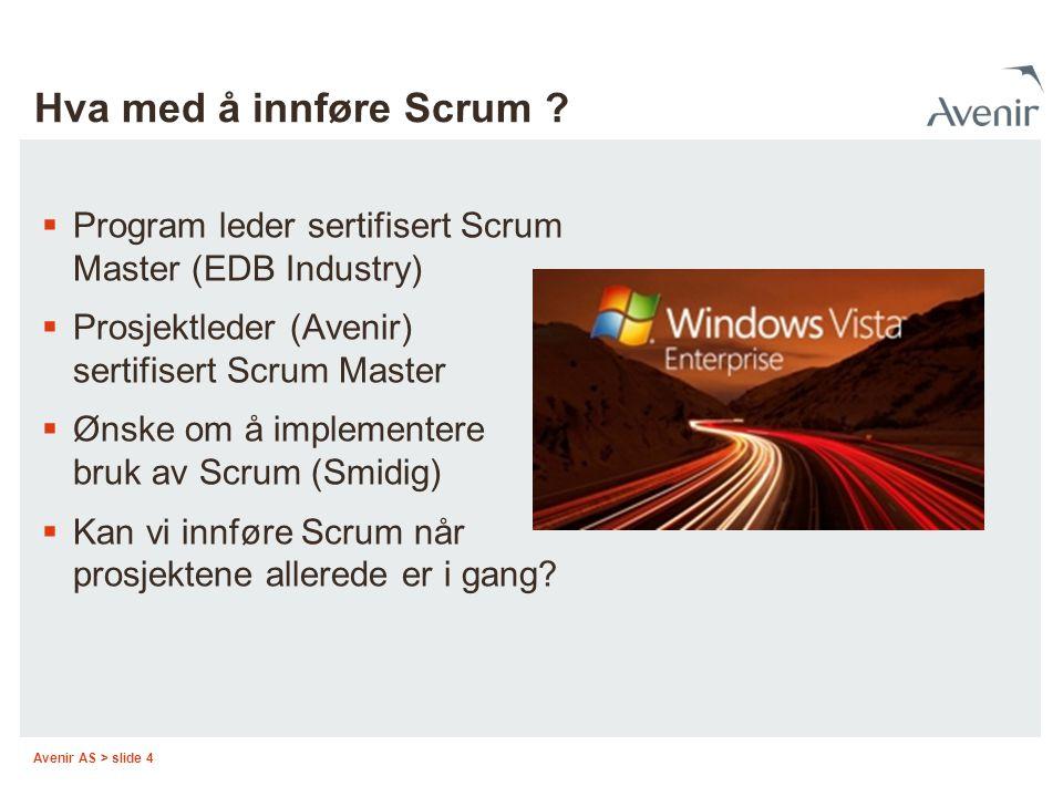 Hva med å innføre Scrum Program leder sertifisert Scrum Master (EDB Industry) Prosjektleder (Avenir) sertifisert Scrum Master.