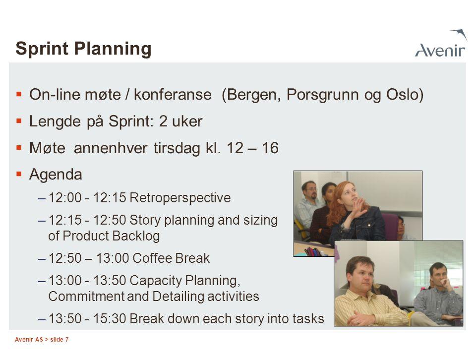 Sprint Planning On-line møte / konferanse (Bergen, Porsgrunn og Oslo)