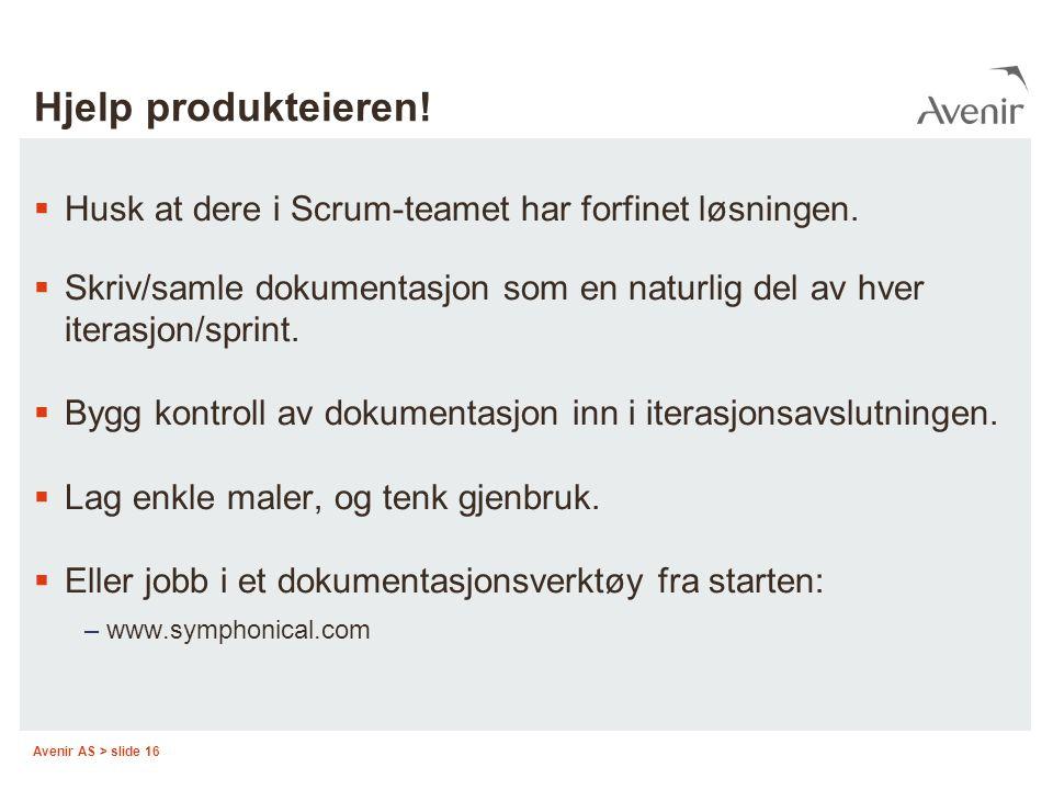 Hjelp produkteieren! Husk at dere i Scrum-teamet har forfinet løsningen. Skriv/samle dokumentasjon som en naturlig del av hver iterasjon/sprint.