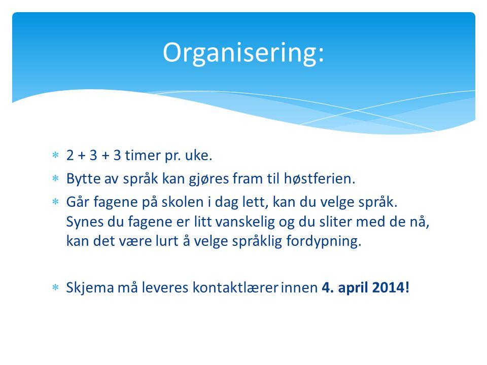 Organisering: 2 + 3 + 3 timer pr. uke.
