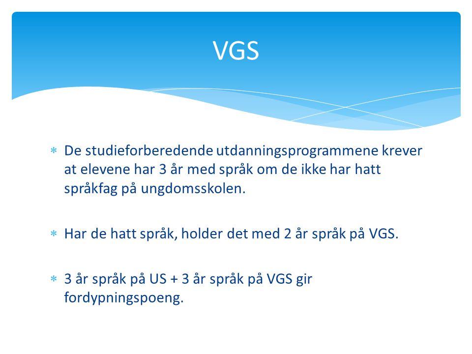 VGS De studieforberedende utdanningsprogrammene krever at elevene har 3 år med språk om de ikke har hatt språkfag på ungdomsskolen.