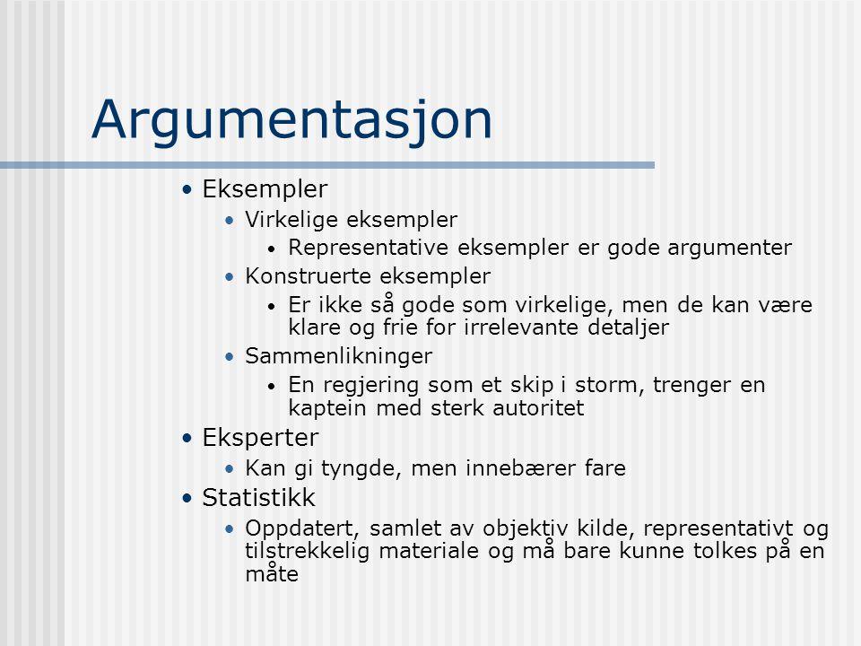 Argumentasjon Eksempler Eksperter Statistikk Virkelige eksempler