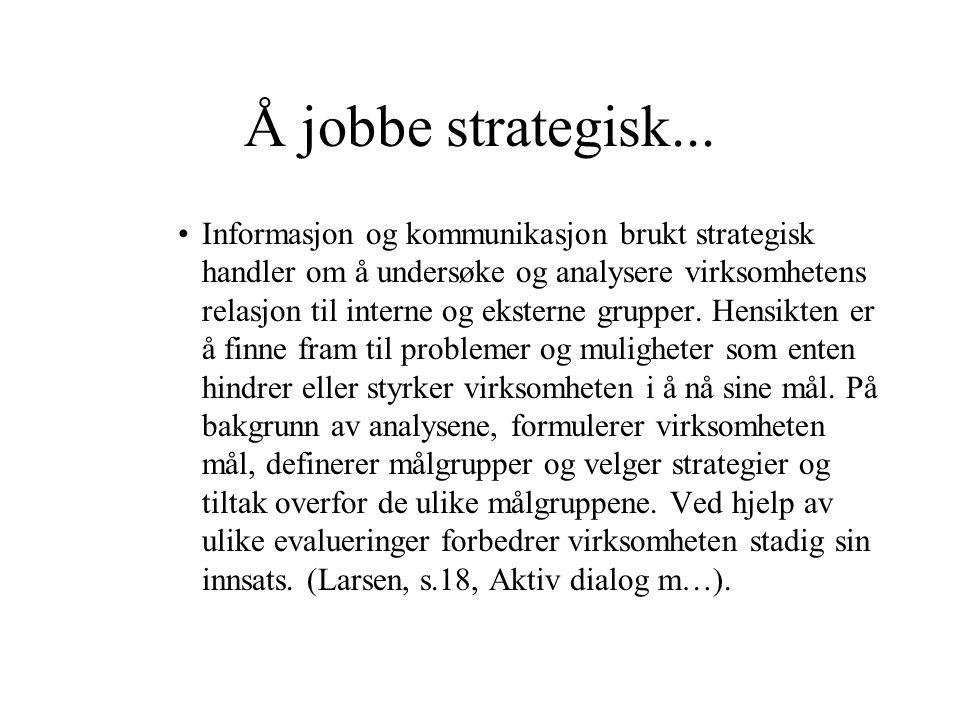 Å jobbe strategisk...