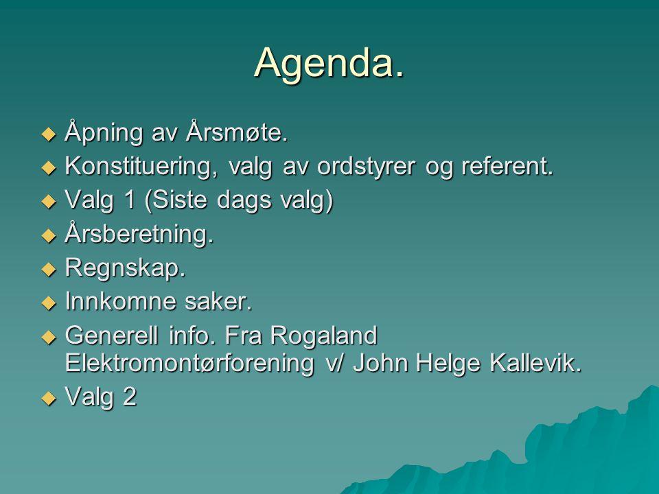 Agenda. Åpning av Årsmøte.