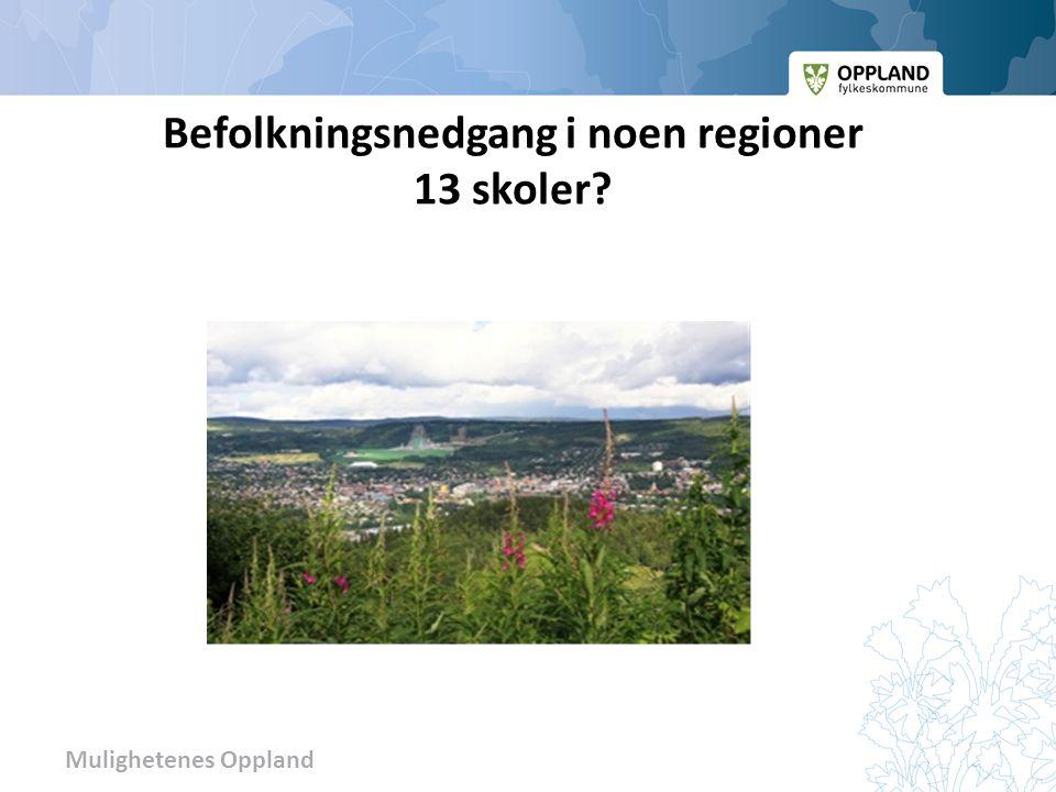 Befolkningsnedgang i noen regioner 13 skoler