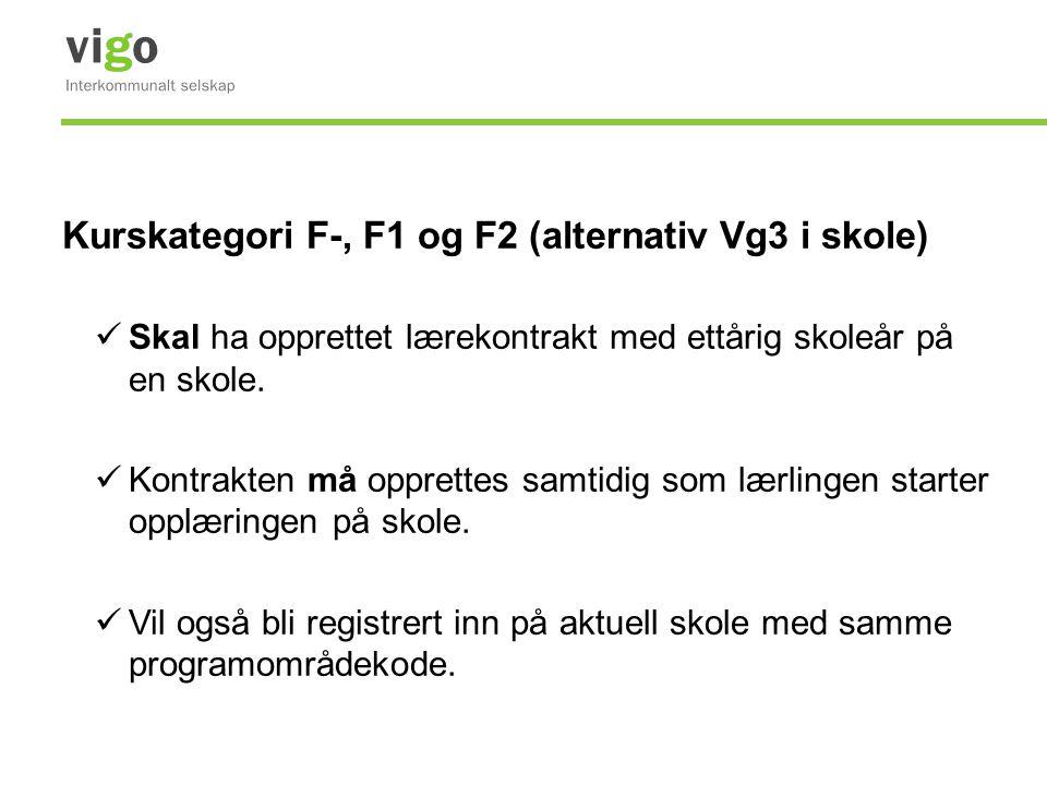 Kurskategori F-, F1 og F2 (alternativ Vg3 i skole)