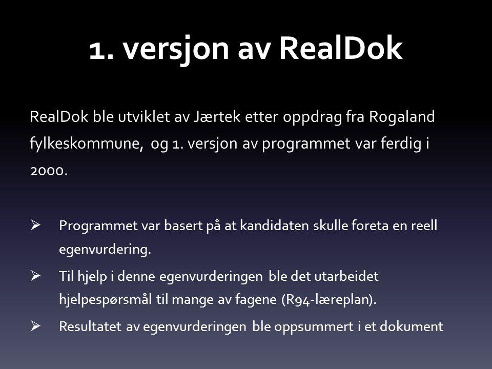 1. versjon av RealDok RealDok ble utviklet av Jærtek etter oppdrag fra Rogaland fylkeskommune, og 1. versjon av programmet var ferdig i 2000.
