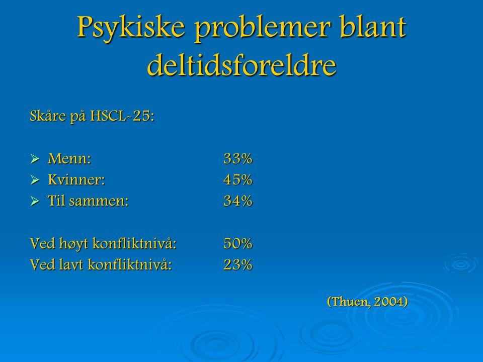 Psykiske problemer blant deltidsforeldre