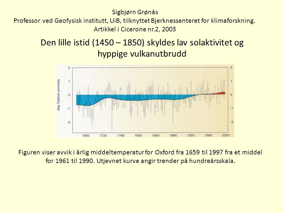 Den lille istid (1450 – 1850) skyldes lav solaktivitet og