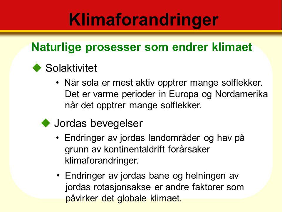 Klimaforandringer Naturlige prosesser som endrer klimaet