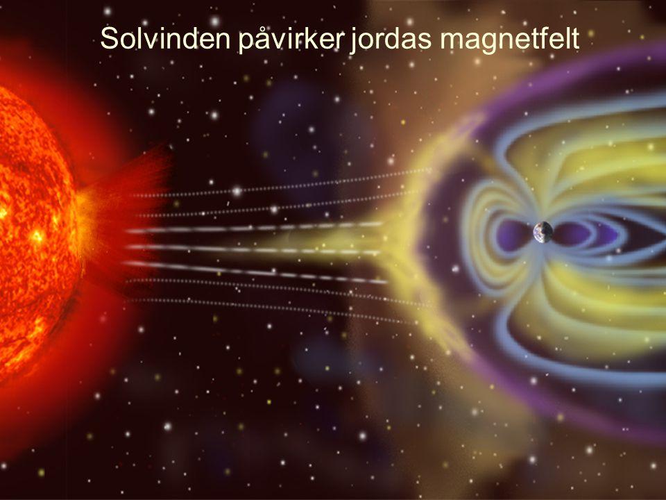 Solvinden påvirker jordas magnetfelt