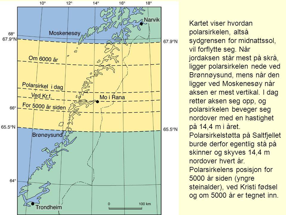 Kartet viser hvordan polarsirkelen, altså sydgrensen for midnattssol, vil forflytte seg.