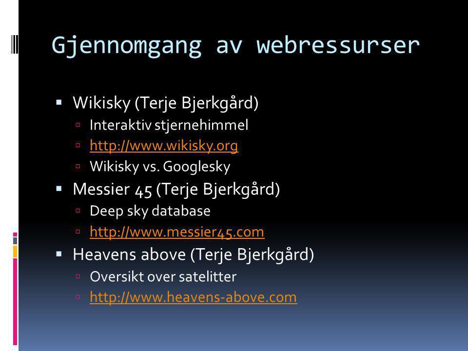 Gjennomgang av webressurser
