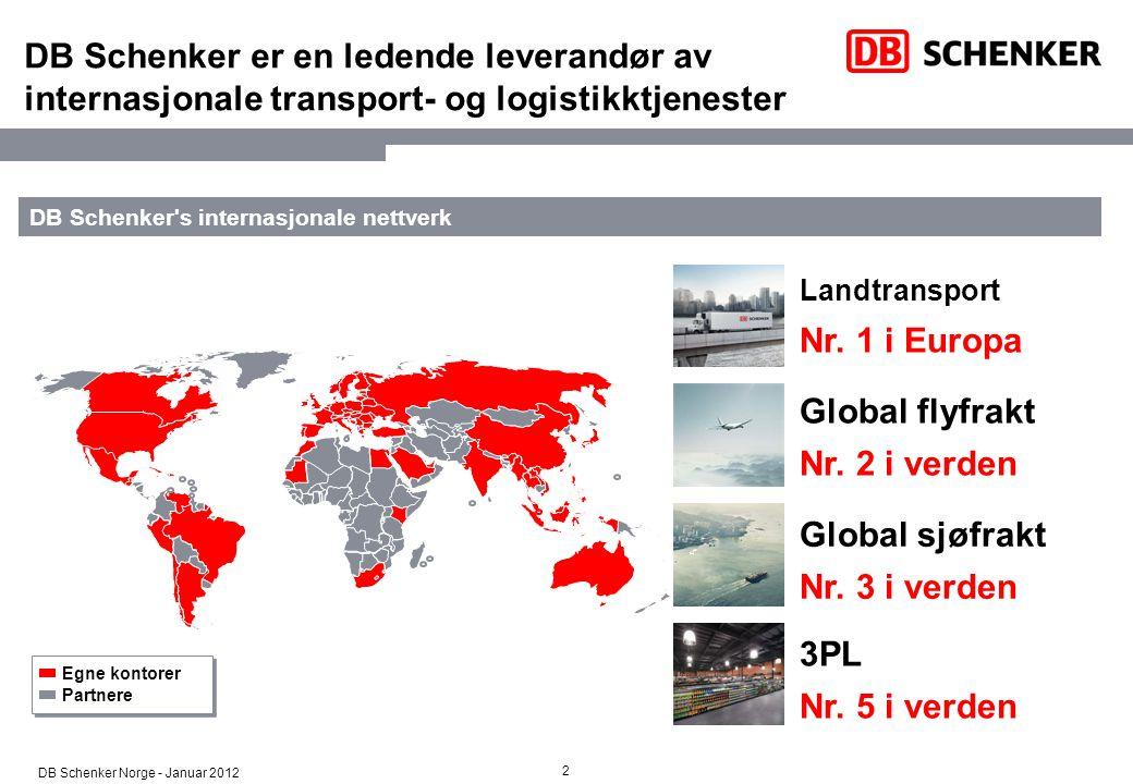 DB Schenker er en ledende leverandør av internasjonale transport- og logistikktjenester