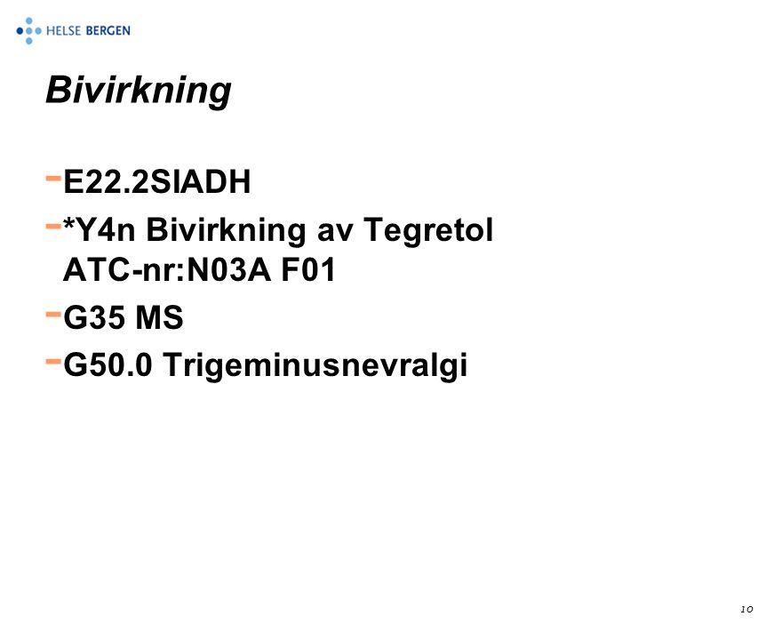 Bivirkning E22.2SIADH *Y4n Bivirkning av Tegretol ATC-nr:N03A F01