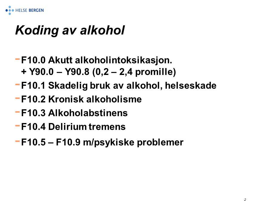 Koding av alkohol F10.0 Akutt alkoholintoksikasjon. + Y90.0 – Y90.8 (0,2 – 2,4 promille)