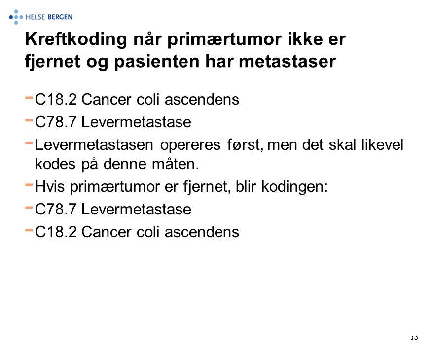 Kreftkoding når primærtumor ikke er fjernet og pasienten har metastaser