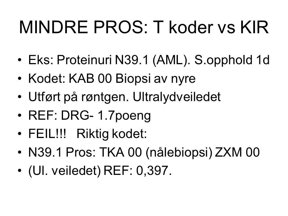 MINDRE PROS: T koder vs KIR