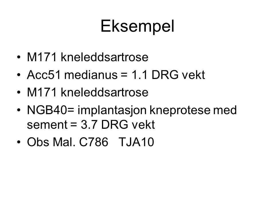 Eksempel M171 kneleddsartrose Acc51 medianus = 1.1 DRG vekt