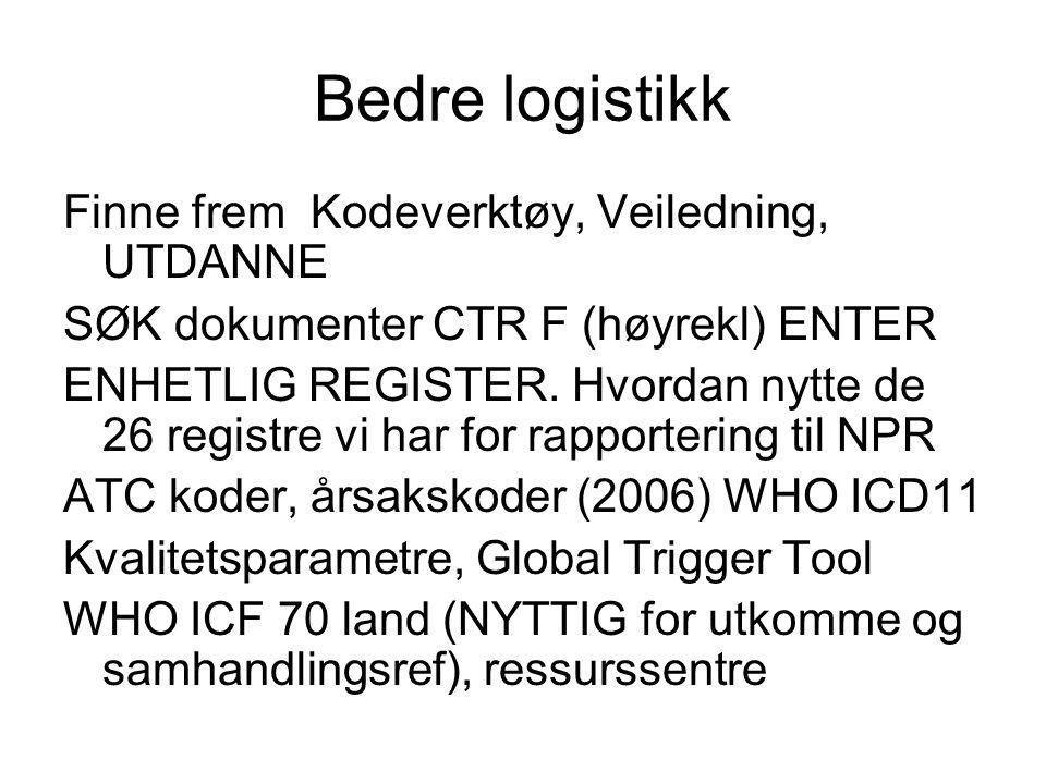 Bedre logistikk Finne frem Kodeverktøy, Veiledning, UTDANNE