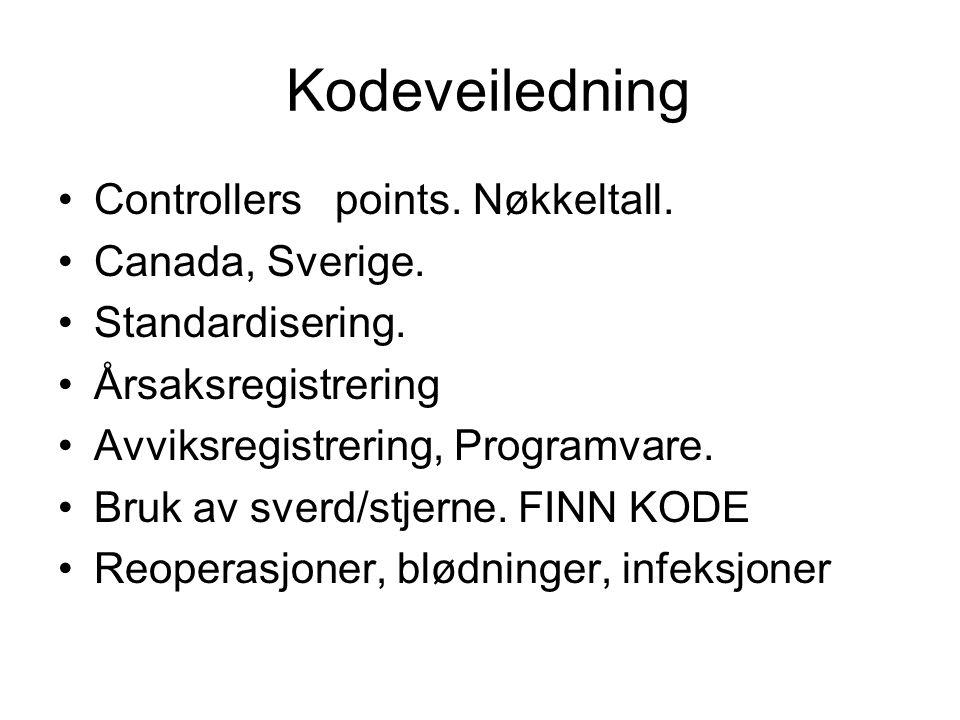 Kodeveiledning Controllers points. Nøkkeltall. Canada, Sverige.