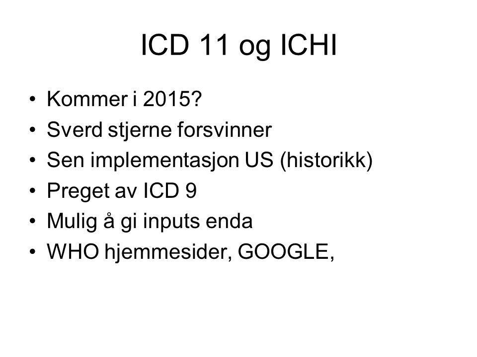 ICD 11 og ICHI Kommer i 2015 Sverd stjerne forsvinner