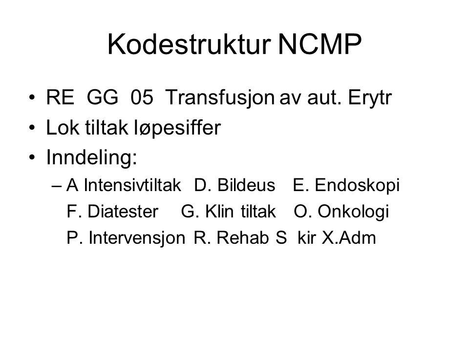 Kodestruktur NCMP RE GG 05 Transfusjon av aut. Erytr
