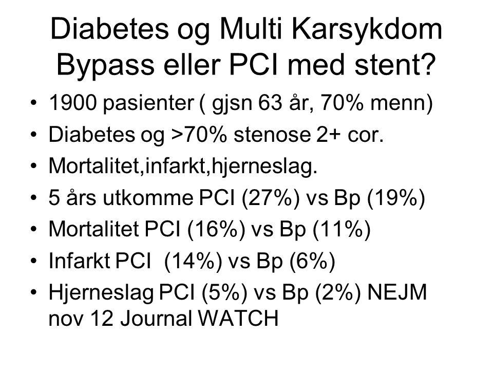 Diabetes og Multi Karsykdom Bypass eller PCI med stent