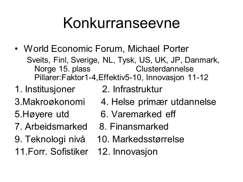 Konkurranseevne World Economic Forum, Michael Porter