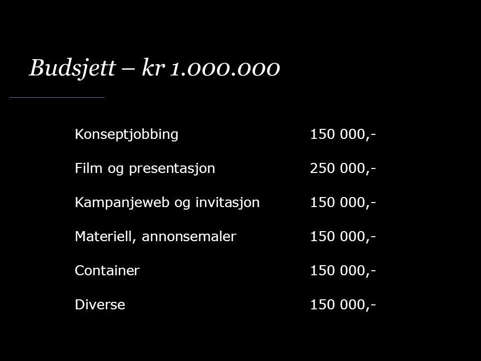 Budsjett – kr 1.000.000