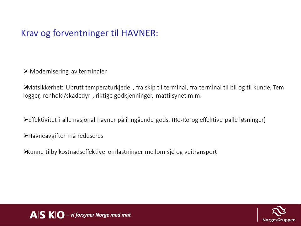 Krav og forventninger til HAVNER: