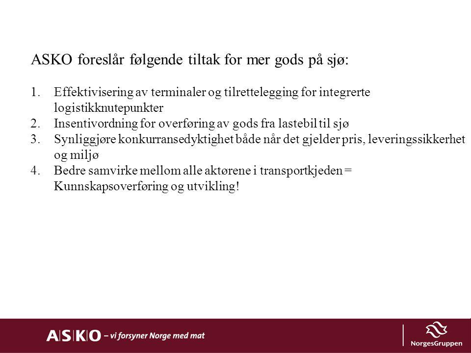 ASKO foreslår følgende tiltak for mer gods på sjø: