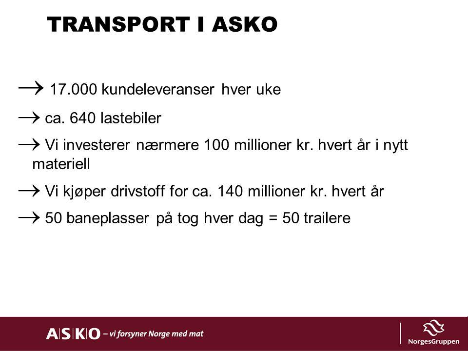 TRANSPORT I ASKO 17.000 kundeleveranser hver uke ca. 640 lastebiler
