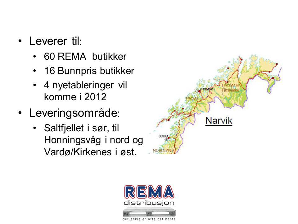 . Leverer til: Leveringsområde: 60 REMA butikker 16 Bunnpris butikker