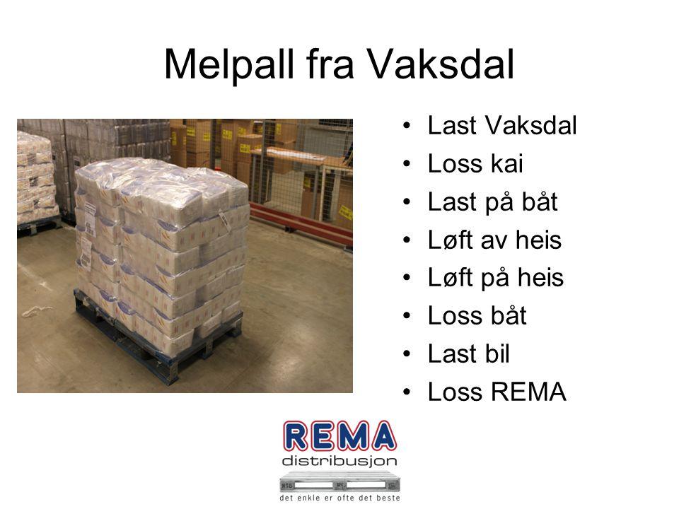 Melpall fra Vaksdal Last Vaksdal Loss kai Last på båt Løft av heis