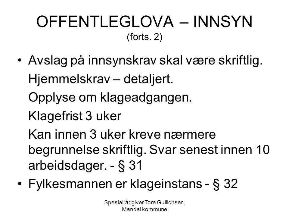 OFFENTLEGLOVA – INNSYN (forts. 2)