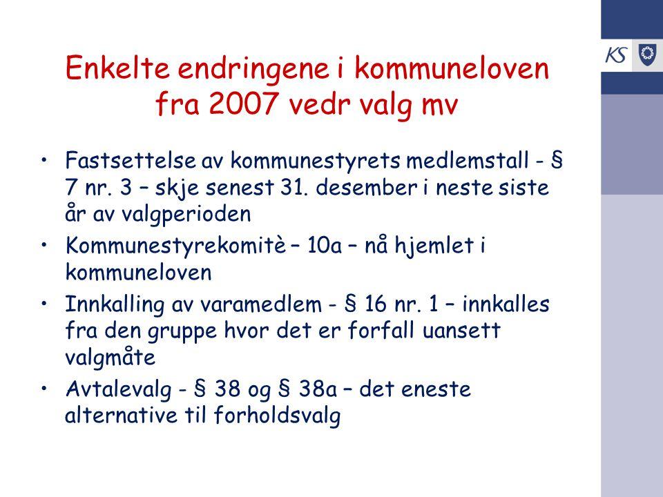 Enkelte endringene i kommuneloven fra 2007 vedr valg mv