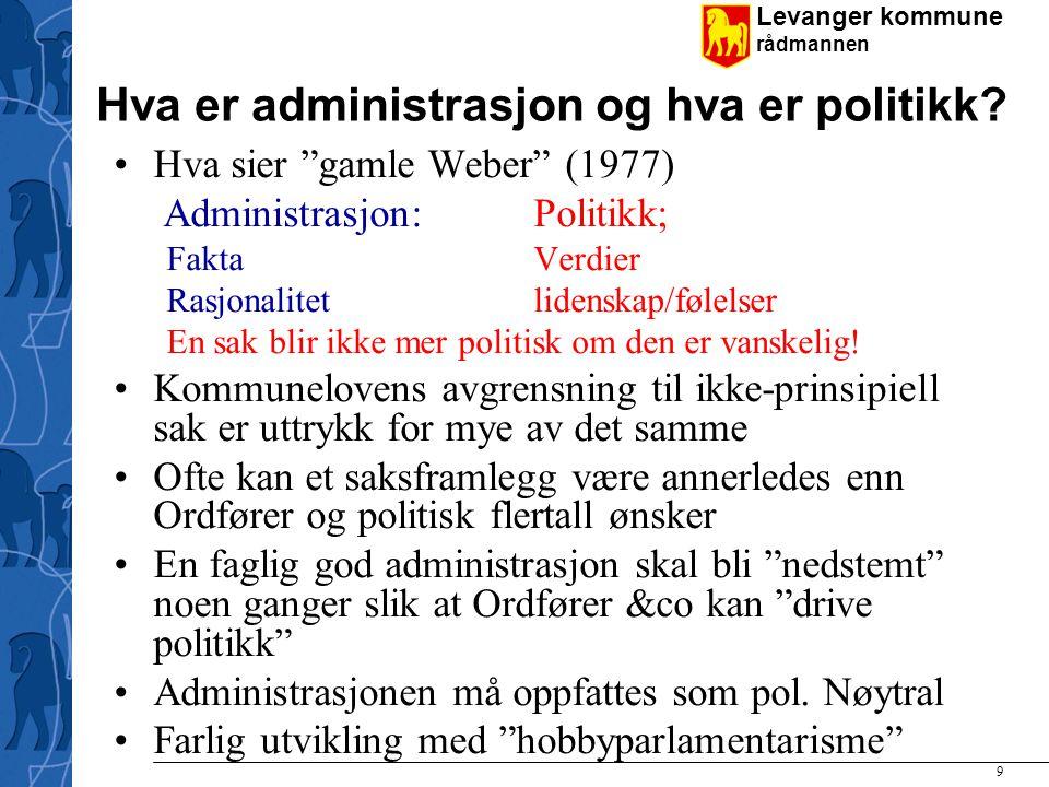 Hva er administrasjon og hva er politikk