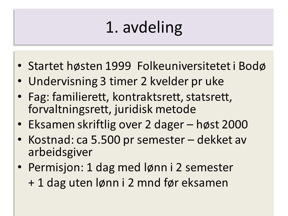 1. avdeling Startet høsten 1999 Folkeuniversitetet i Bodø