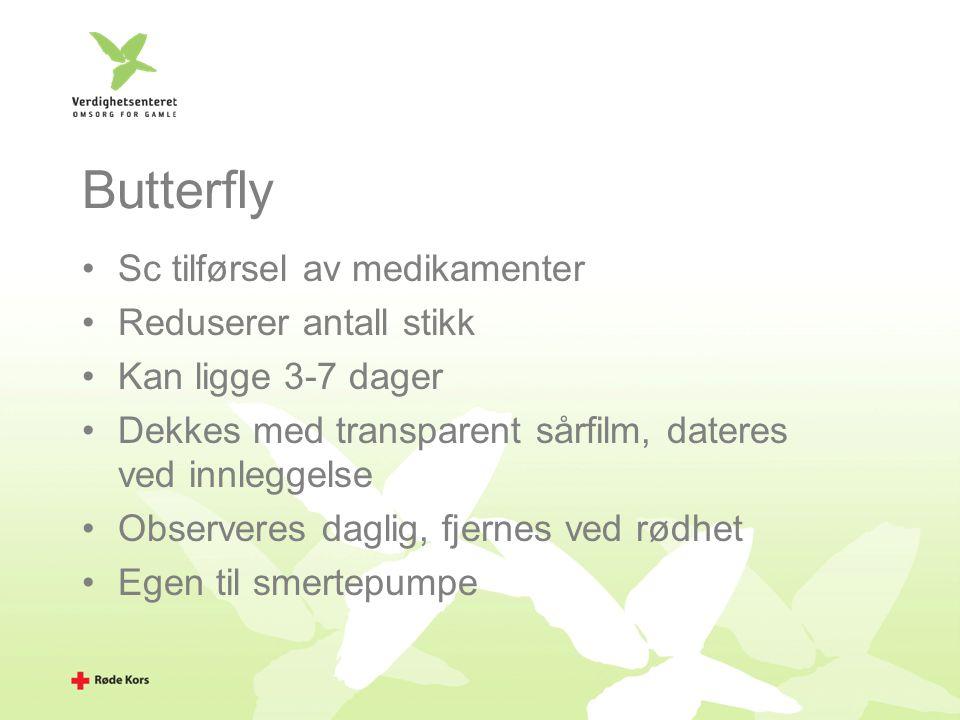 Butterfly Sc tilførsel av medikamenter Reduserer antall stikk