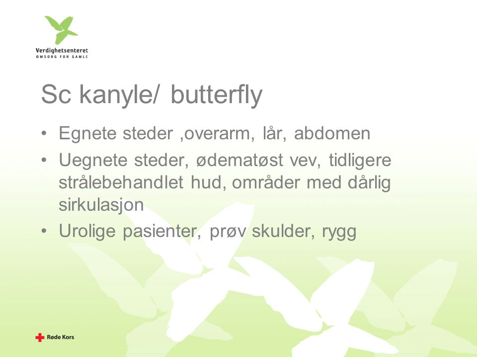 Sc kanyle/ butterfly Egnete steder ,overarm, lår, abdomen